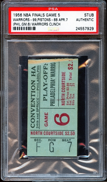 1956 NBA Finals Game 5 Ticket Stub PSA AUTHENTIC