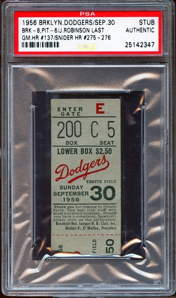 1956 Brooklyn Dodgers Ticket Stub Jackie Robinson Last Game PSA AUTHENTIC