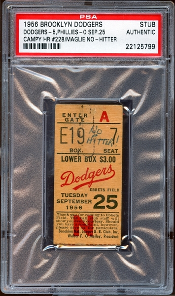 1956 Brooklyn Dodgers Ticket Stub Sal Maglie No-Hitter PSA AUTHENTIC