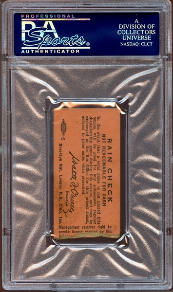 1955 Brooklyn Dodgers Ticket Stub Sandy Koufax 1st Career Win PSA 5 EX
