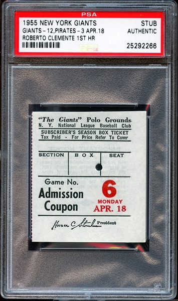1955 New York Giants Ticket Stub Roberto Clemente 1st Career Home Run PSA AUTHENTIC