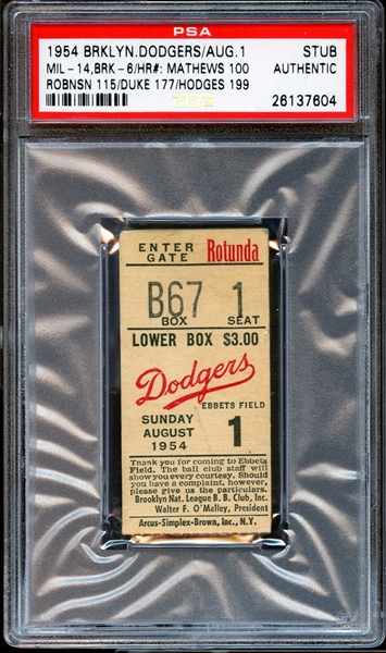 1954 Brooklyn Dodgers Ticket Stub Mathews/Robinson/Snider/Hodges Home Runs PSA AUTHENTIC