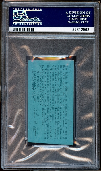 1954 Milwaukee Braves Ticket Stub Robinson Ejected/Throws Bat/Hits Woman/Sued PSA AUTHENTIC