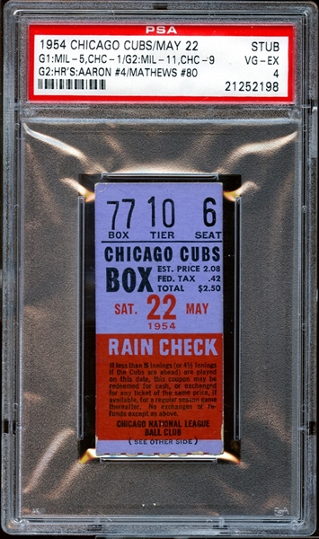 1954 Chicago Cubs Ticket Stub Hank Aaron and Ed Mathews Home Runs PSA AUTHENTIC