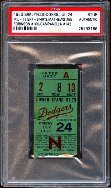1953 Brooklyn Dodgers Ticket Stub Mathews/Robinson/Campanella Home Runs PSA AUTHENTIC