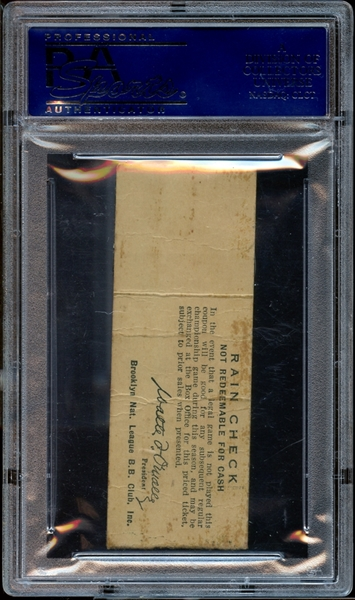1952 Brooklyn Dodgers Ticket Stub Robinson/Snider 2 Home Runs Each PSA AUTHENTIC