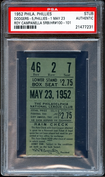1952 Philadelphia Phillies Ticket Stub Roy Campanella Home Run #100 PSA AUTHENTIC