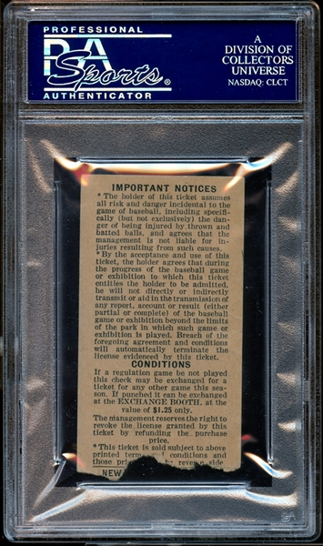 1950 New York Yankees Ticket Stub Joe DiMaggio Home Run #325 PSA AUTHENTIC