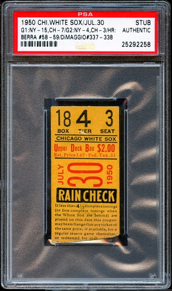 1950 Chicago White Sox Ticket Stub Yogi Berra and Joe DiMaggio Home Runs PSA AUTHENTIC