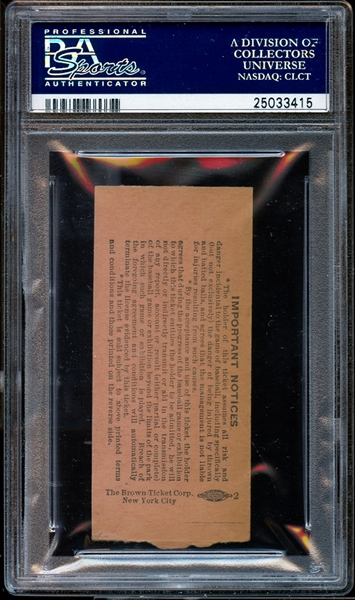 1949 New York Yankees Ticket Stub Tom Greenwade Signs Mickey Mantle to the Yankees PSA AUTHENTIC