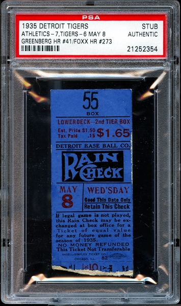 1935 Detroit Tigers Ticket Stub Hank Greenberg and Jimmie Foxx Home Runs PSA AUTHENTIC