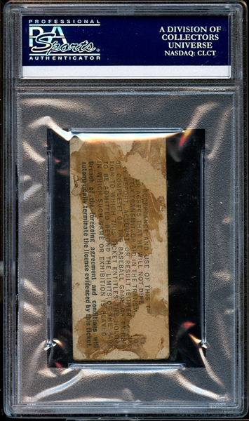 1947 Brooklyn Dodgers Ticket Stub Reiser Crashes Into Wall-Last Rites Administered PSA AUTHENTIC