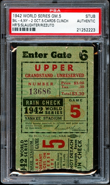 1942 World Series Game 5 Ticket Stub Enos Slaughter and Phil Rizzuto Home Runs PSA AUTHENTIC