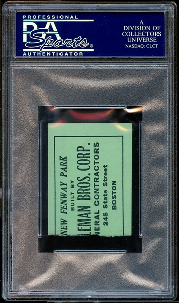 1942 Boston Red Sox Ticket Stub Ted Williams Last Game Before WWII PSA AUTHENTIC