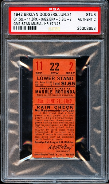1942 Brooklyn Dodgers Ticket Stub Stan Musial Career Home Run #7 PSA AUTHENTIC