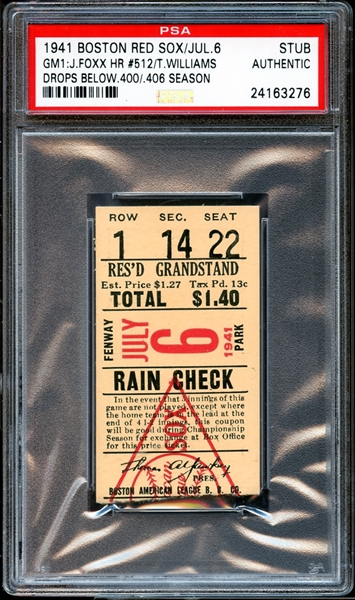 1941 Boston Red Sox Ticket Stub Jimmie Foxx Career Home Run #512 PSA AUTHENTIC