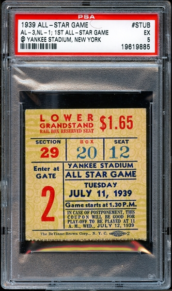 1939 All-Star Game Ticket Stub PSA 5 EX
