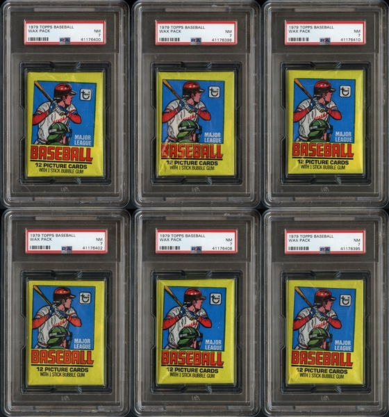 1979 Topps Baseball Unopened Wax Pack Group of 6 All PSA 7 NM
