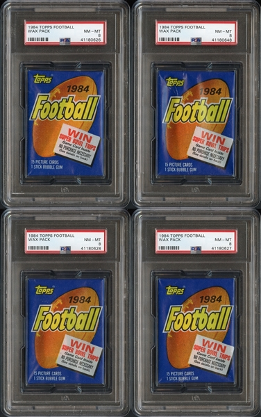 1984 Topps Football Unopened Wax Pack Group of 4 All PSA 8 NM-MT