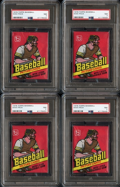 1978 Topps Baseball Unopened Wax Pack Group of 4 All PSA 7 NM