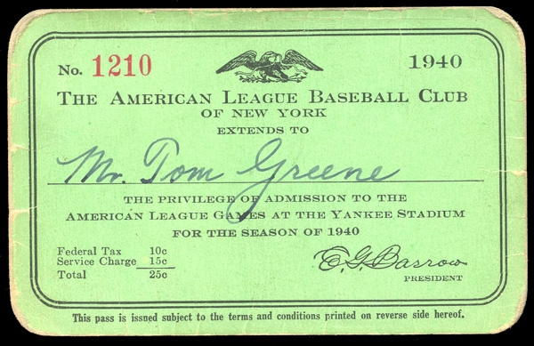 1940 New York Yankees Season Pass