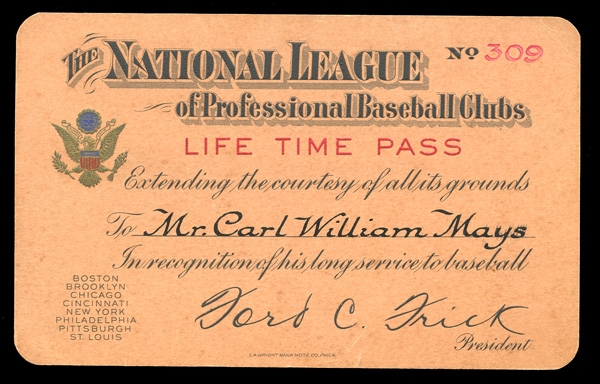 National League of Professional Baseball Clubs Lifetime Pass Belonging to Carl Mays
