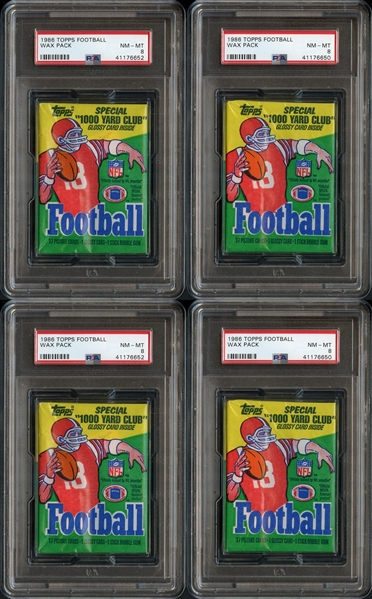 1986 Topps Football Unopened Wax Pack Group of 4 All PSA 8 NM-MT