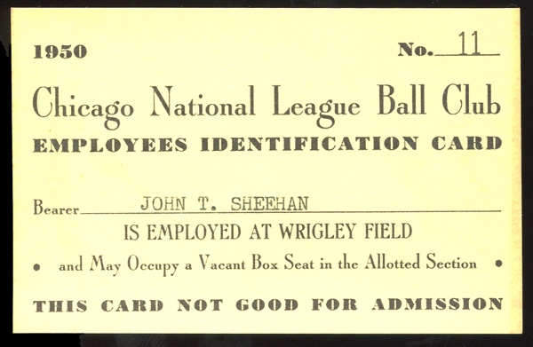 1950 Chicago Cubs Wrigley Field Employee Identification Card