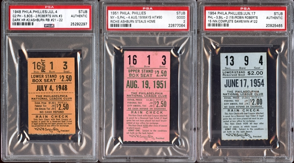 1940s-50s Philadelphia Phillies Prominent Ticket Stub Collection of (3) All PSA