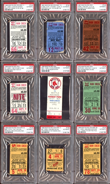 1960s-90s Boston Red Sox Prominent Ticket Stub Collection of (9) All PSA AUTHENTIC