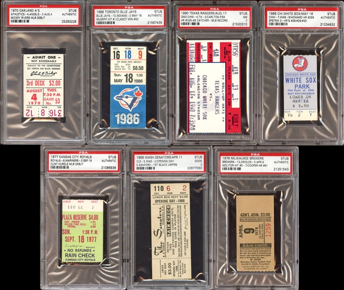 1960s-90s MLB Prominent Ticket Stub Collection of (7) All PSA