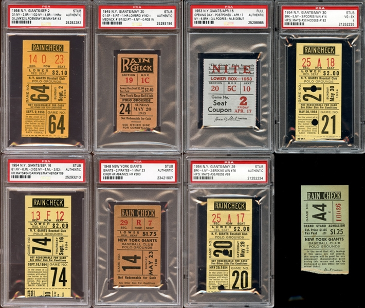 1940s-50s New York Giants Prominent Ticket Stub Collection of (8) Nearly All PSA