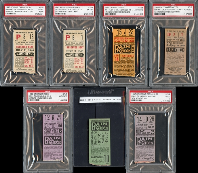 1930's-1940's  Prominent Ticket Stub Collection of (7)