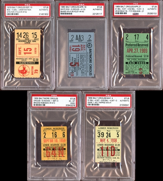 1950s-80s Baltimore Orioles Prominent Ticket Stub Collection all PSA