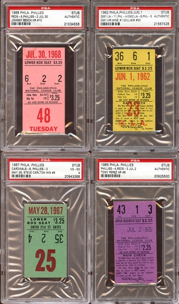 1960s Philadelphia Phillies Prominent Ticket Stub Collection of (4) All PSA