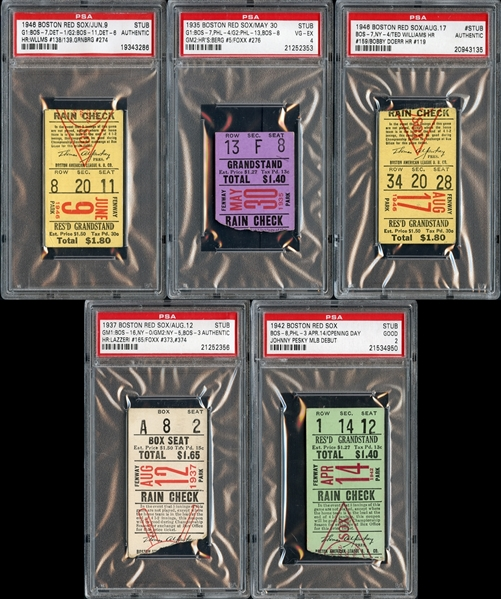 1930's-1940's Boston Red Sox Prominent Ticket Stub Collection (5)