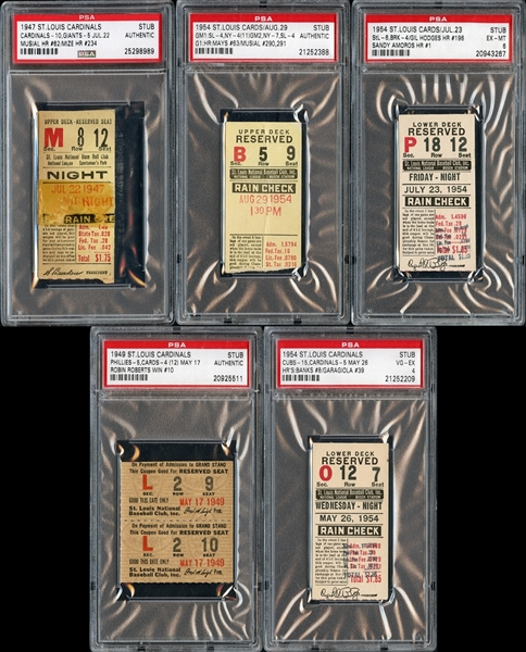 1940's-1950's St. Louis Cardinals Prominent Ticket Stub Collection of (5)