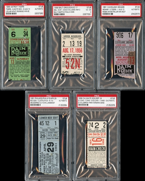 1950s Prominent Ticket Stub Collection of (5)