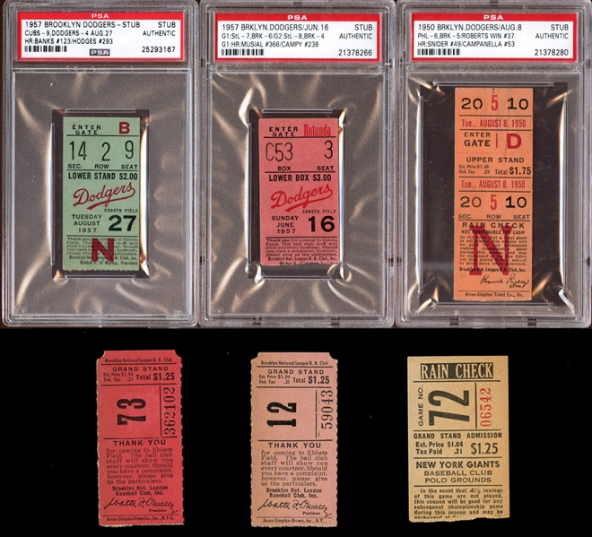 1950s Brooklyn Dodgers Prominent Ticket Stub Collection of (6) With PSA