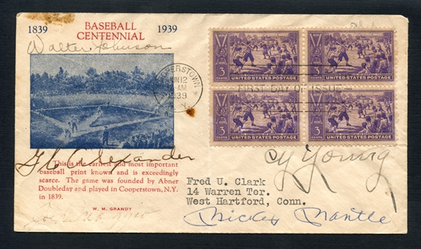 Extraordinary 1939 First Day Cover Signed by W. Johnson, G.C. Alexander, Cy Young, Ty Cobb, M. Mantle and Hank Aaron PSA/DNA