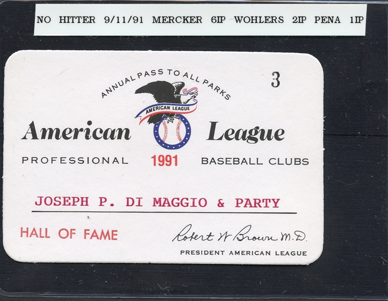 Group of (2) 1982 & 1991 American League Annual Passes to Joe DiMaggio
