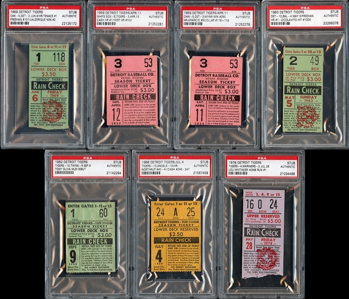 1950's-1970's Detroit Tigers Prominent Ticket Stub Collection of (7)