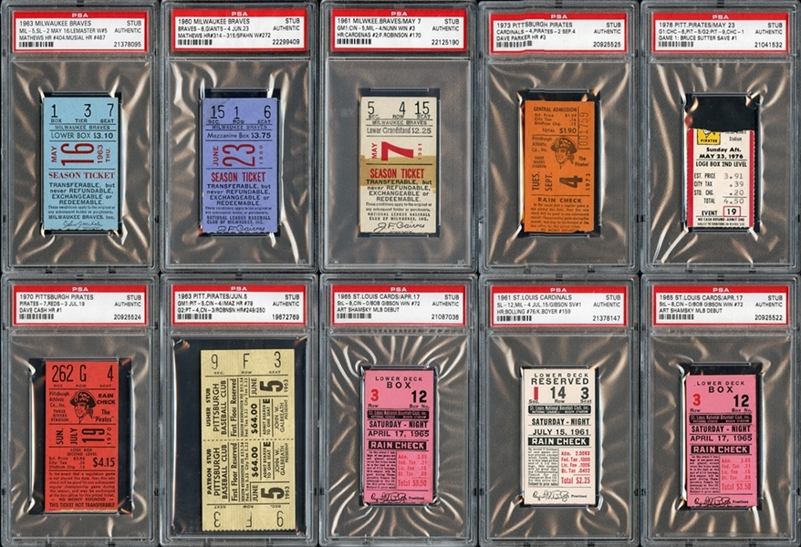 1960's-1970's Prominent Ticket Stub Collection of (10)