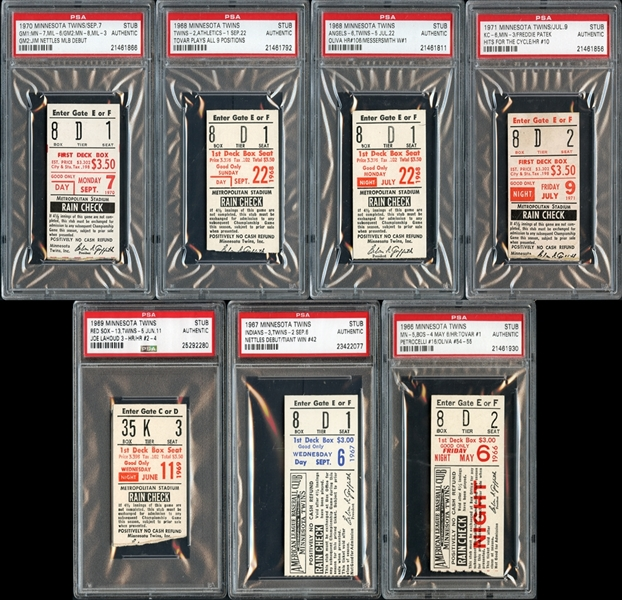 1960's-1970's Minnesota Twins Prominent Ticket Stub Collection of (7)