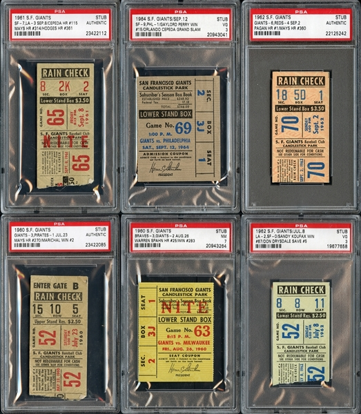 1960s-1970s San Francisco Giants Prominent Ticket Stub Collection of (15)