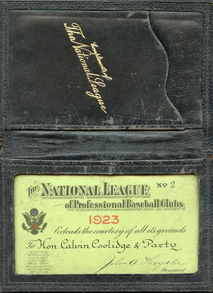 1923 National League Annual Pass With Original Wallet to Vice President Calvin Coolidge