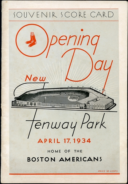 1934 Boston Red Sox Inaugural Program to the Renovated Fenway Park