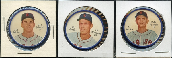1962 Salada Junket with Rare Clip Back Group of (3) Boston Red Sox