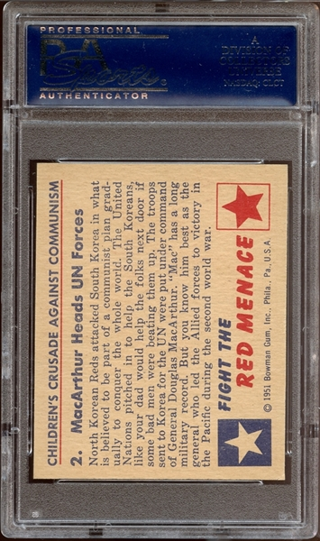 1951 Bowman Red Menace #2 MacArthur Heads UN Forces PSA 8 NM/MT