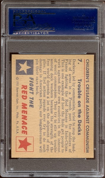 1951 Bowman Red Menace #7 Trouble on the Docks PSA 8 NM/MT